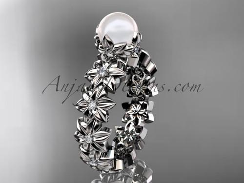 Diamond Pearl Flower Engagement Ring Platinum AP57