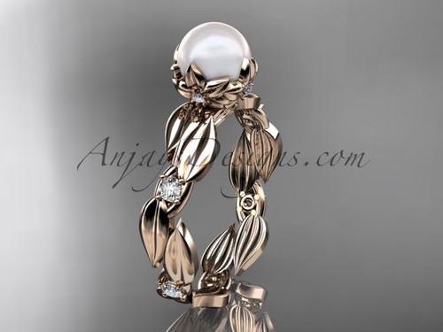 Pearl engagement rings - rose gold leaf Wedding ring AP58