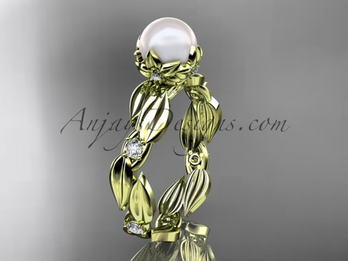 Pearl engagement rings - yellow gold leaf Bridal ring AP58
