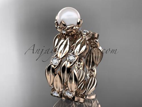 Flower Wedding Ring Sets - Rose Gold Pearl Ring AP58S