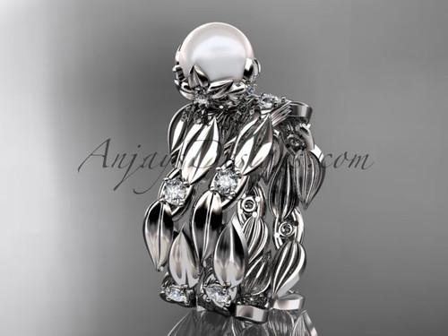 Pearl Bridal Ring Sets - Platinum Engagement Ring AP58S
