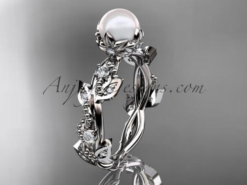 Pearl Wedding Rings - Beautiful Leaf Platinum Ring AP59
