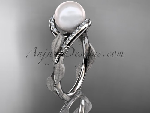 Pearl Diamond Engagement Ring - White Gold Leaf Ring AP64