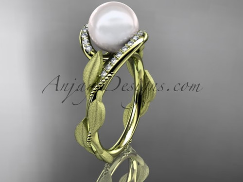 Pearl Diamond Engagement Ring - Yellow Gold Leaf Ring AP64