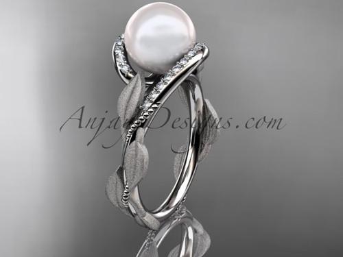 Pearl Diamond Engagement Ring - Platinum Leaf Ring AP64