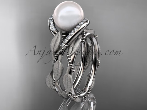 Pearl Wedding Band Set - White Gold Leaf Bridal Set AP64S