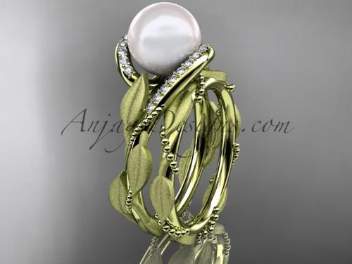 Pearl Wedding Band Set - Yellow Gold Leaf Bridal Set AP64S