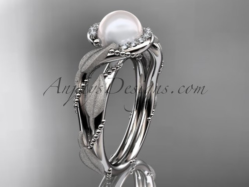 Diamond Pearl Vine & Leaf White Gold Engagement Ring AP65