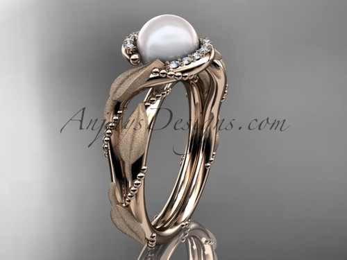 Diamond Pearl Vine & Leaf Rose Gold Engagement Ring AP65