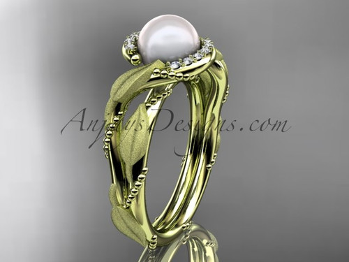 Diamond Pearl Vine & Leaf Yellow Gold Engagement Ring AP65