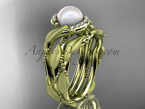 Floral bridal ring sets Yellow gold Pearl diamond ring AP65S