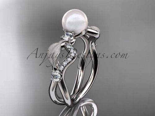 14k white gold diamond pearl leaf engagement ring AP68