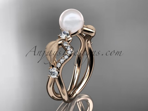 Diamond & Pearl Bridal Rings, Yellow Gold  Leaf Ring AP68