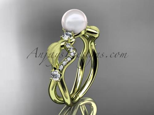 Diamond & Pearl Bridal Rings, Yellow Gold  Leaf Ring AP68