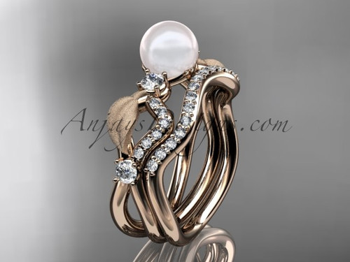 Unique Pearl Ring Sets Rose Gold Leaf Diamond Ring AP68S