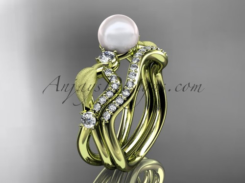 Unique Pearl Bridal Ring Sets Yellow Gold Leaf Ring AP68S