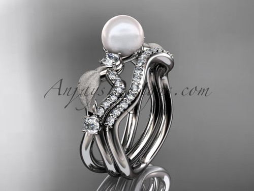 Unique Pearl Engagement Ring Sets - Platinum Leaf Ring AP68S