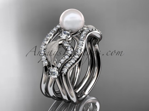 White Gold Pearl Deluxe Bridal Ring & Wedding Band Set AP68S