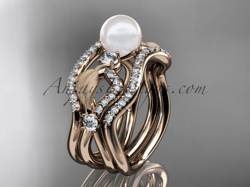 Pearl Deluxe Bridal Ring & Rose Gold Wedding Band Set AP68S