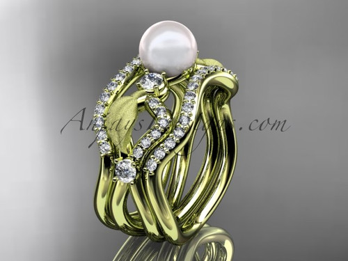 Double Matching Band Yellow Gold Pearl Leaf Wedding Ring AP68S