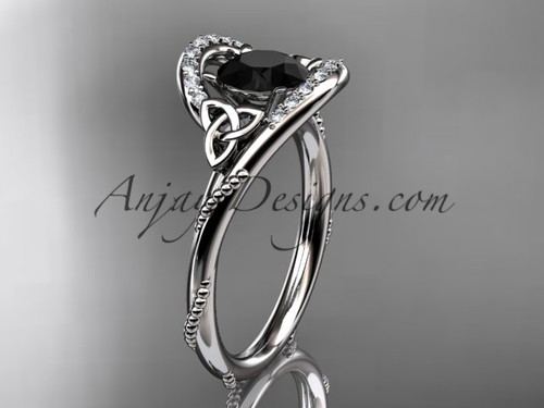 14kt white gold diamond celtic trinity knot wedding ring, engagement ring with a Black Diamond center stone CT7166