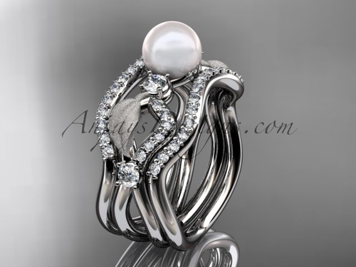 Double Matching Band Platinum Pearl Leaf Bridal Ring AP68S