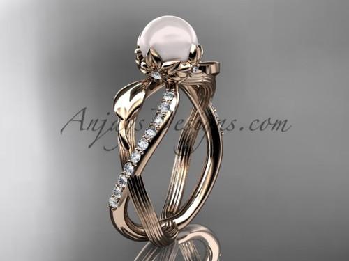 White Pearl Rose Gold Diamond Engagement Ring AP70