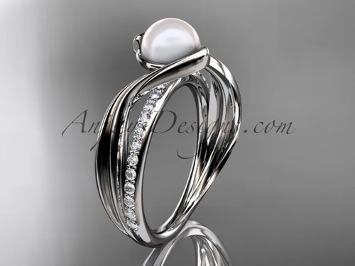 14k White Gold Diamond Leaf Pearl Engagement Ring AP78