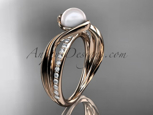14k Rose Gold Diamond Leaf Pearl Engagement Ring AP78