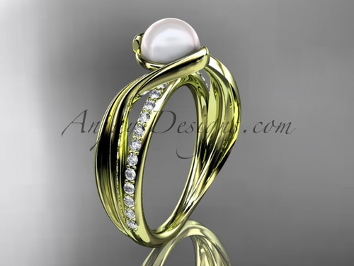 14k Yellow Gold Diamond Leaf Pearl Engagement Ring AP78