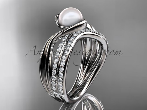 White Gold Wedding Set Diamond & Pearl Engagement Ring AP78S