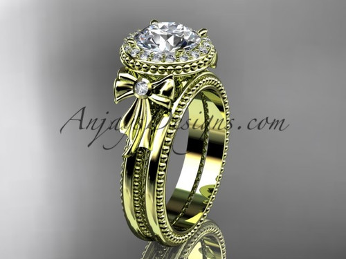 "14kt yellow gold diamond unique engagement set, wedding ring with a ""Forever One"" Moissanite center stone ADER157S"