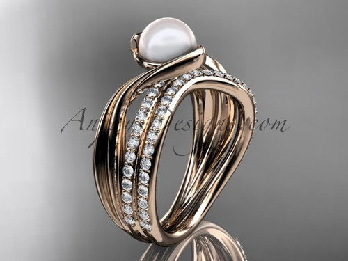 Rose Gold Bridal Set, Diamond & Pearl Engagement Ring AP78S