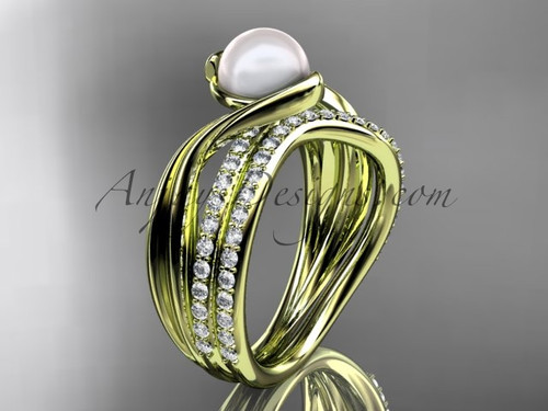 Yellow Gold Diamond Bridal Set, Leaf Pearl Ring AP78S