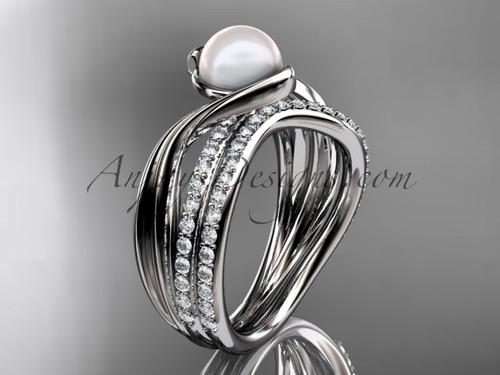Platinum Diamond Bridal Set, Pearl Engagement Ring AP78S