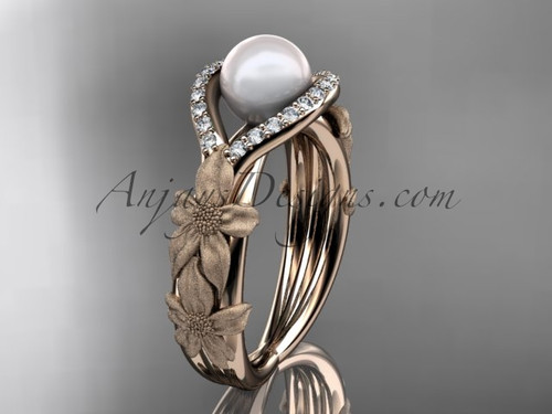 14k rose gold diamond pearl vine and leaf engagement ring AP85