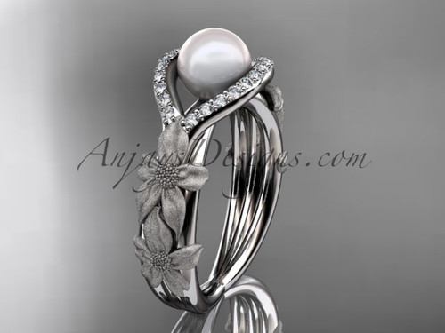 Platinum diamond pearl vine and leaf engagement ring AP85