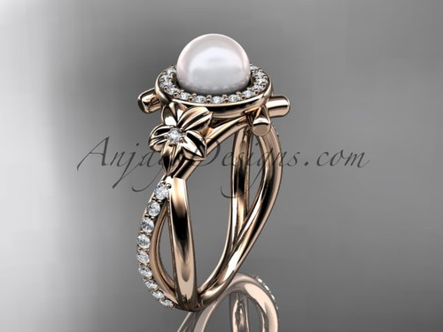 14k rose gold diamond pearl vine and leaf engagement ring AP89