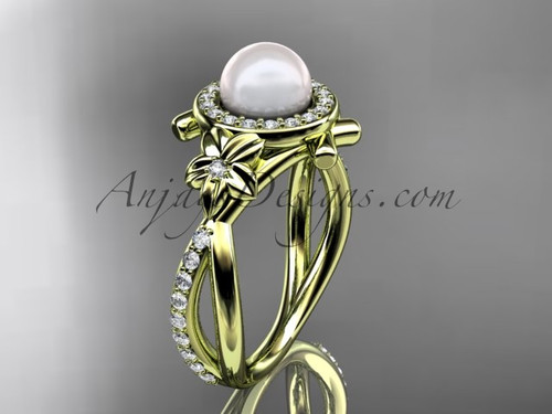 14k yellow gold diamond pearl vine and leaf engagement ring AP89