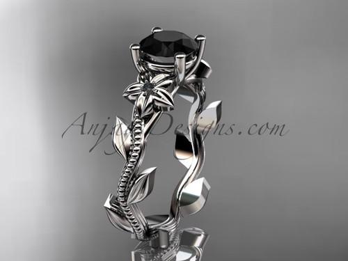 Dream Wedding Ring, White Gold Black Diamond Flower Ring ADLR238