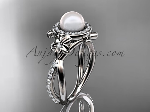 Platinum diamond pearl vine and leaf engagement ring AP89