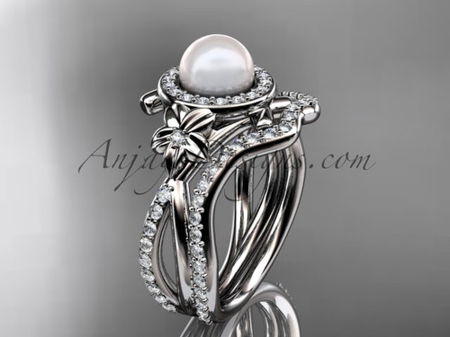 14k white gold diamond pearl vine and leaf engagement set AP89S
