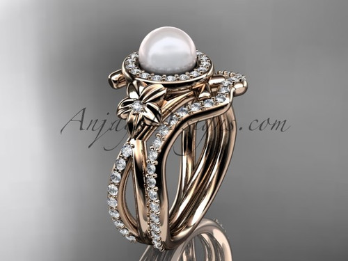 14k rose gold diamond pearl vine and leaf engagement set AP89S
