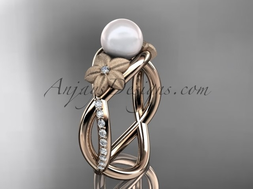 14k rose gold diamond pearl vine and leaf engagement ring AP90