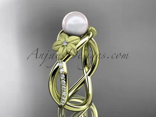 14k yellow gold diamond pearl vine and leaf engagement ring AP90