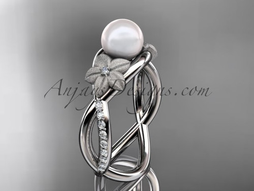 Platinum diamond pearl vine and leaf engagement ring AP90