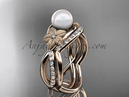 14k rose gold diamond pearl vine and leaf engagement set AP90S