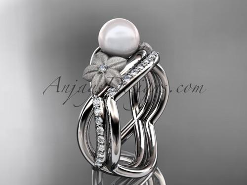Platinum diamond pearl vine and leaf engagement set AP90S