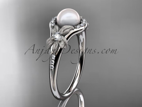 14k white gold diamond pearl vine and leaf engagement ring AP91