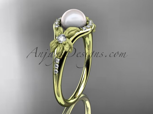 14k yellow gold diamond pearl vine and leaf engagement ring AP91